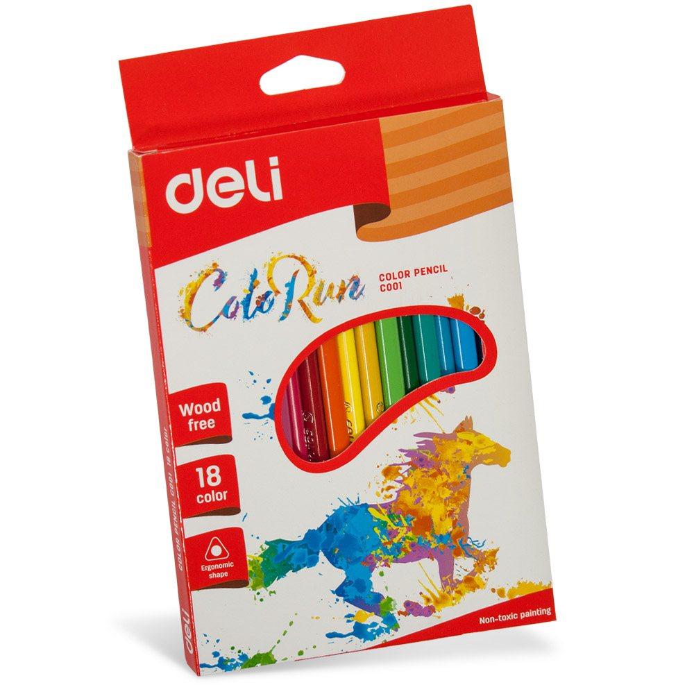 Карандаши  18 цветов треугольные пластиковые, COLOR RUN Deli арт 00110С