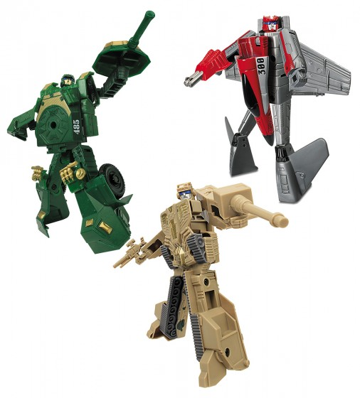 82040R Set Robot Transformer TRIO 15 cm tanc verde, avion, tanc bej