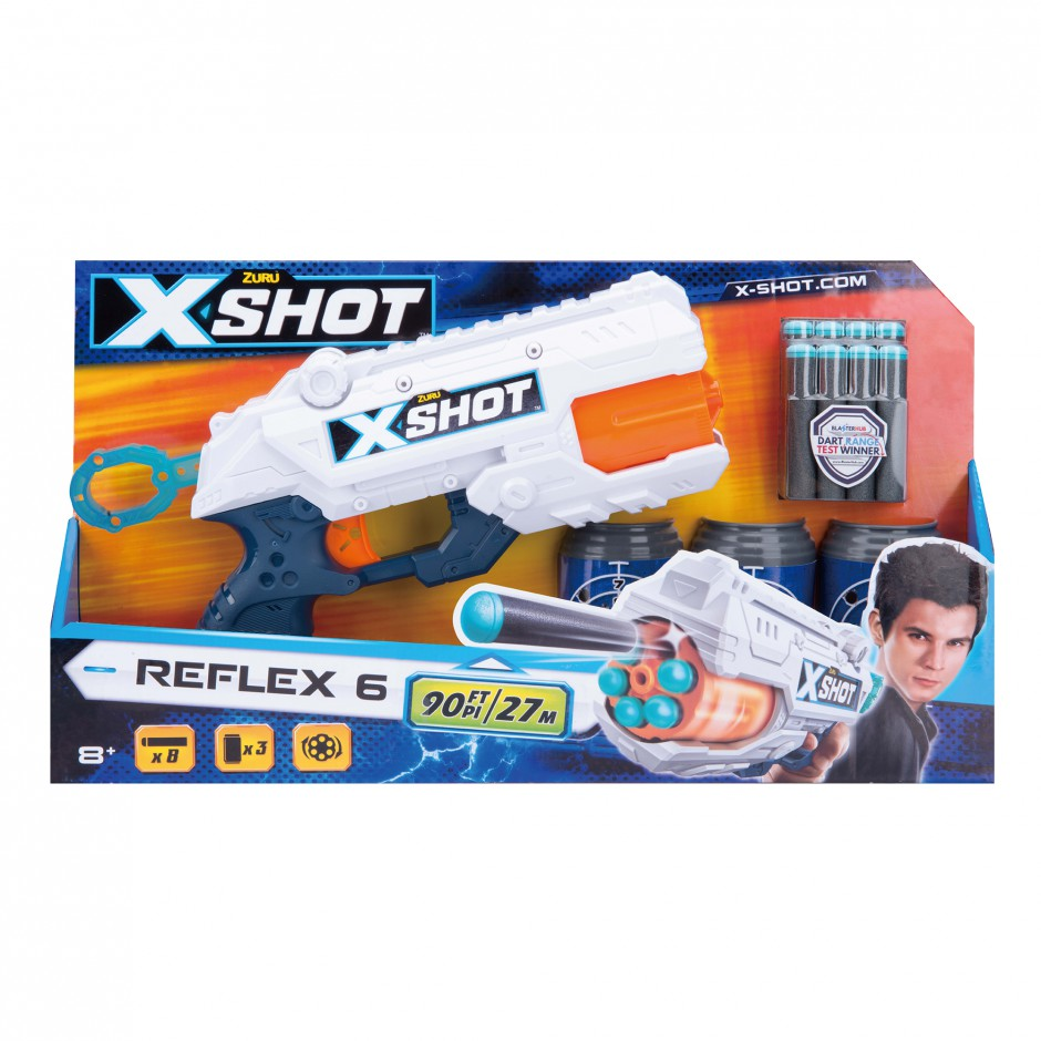 36197Z  X-Shot Скорострельный бластер EXCEL Reflex (3 банки, 8 патронов)
