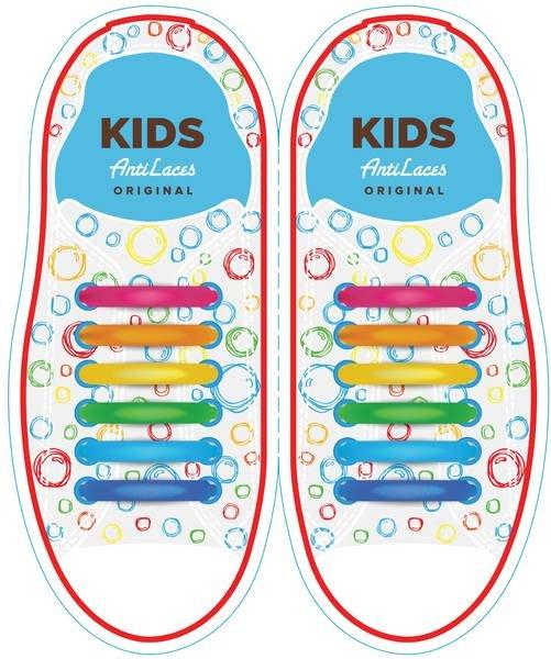 Разноцветные АнтиШнурки 6+6 (12 шт комплект)