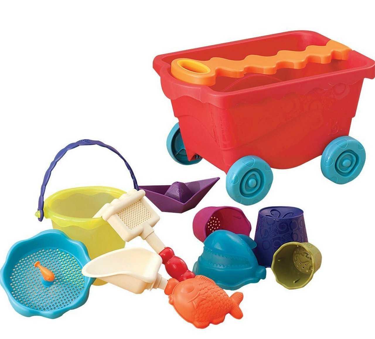 BX1594Z Набор для игры с песком и водой Battat Тележка Манго 11 предметов