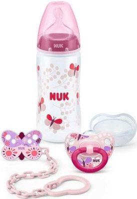 225157 SET NUK коллекция розовый (1 бутылочка, 1 пустышка, 1 держатель для пустышки) (1sticluta,1suzeta,1lant (225157)