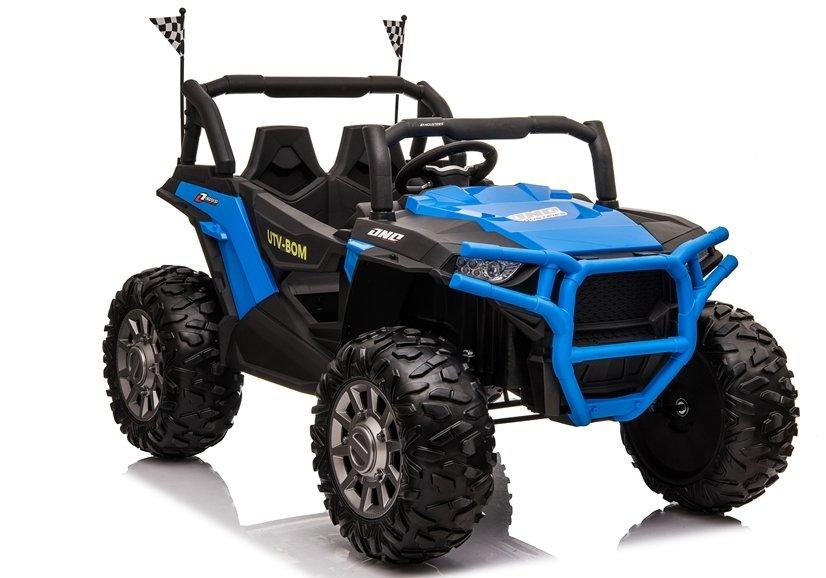 4147 Masina electrica Jeep JC999 culoare albastra cu 2 locuri 4 motoare