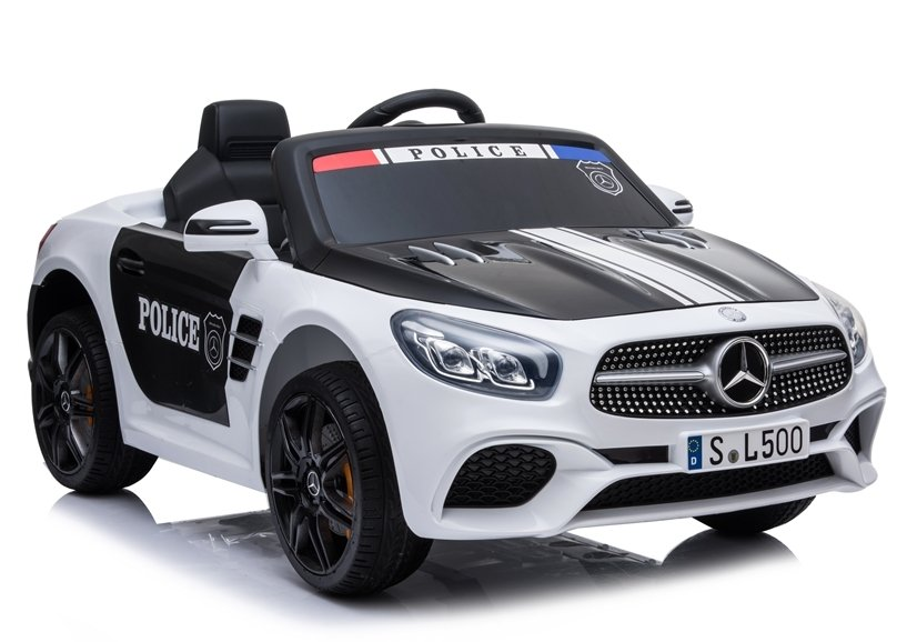 4792 Masina electrica Mercedes SL500 Politie culoare alba cu 2 motoare