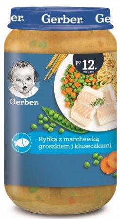 Gerber Piure Junior peste cu morcovi, mazare si galuste(12 m+) 250 gr.
