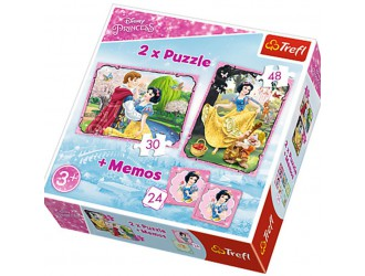 "90603 Trefl Puzzle ""2in1+memos"" Snow White in  love Princess"