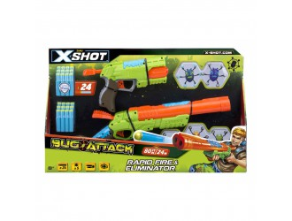 4804 Set Blastere Bugs Attack  X-Shot (2 tipuri de blastere, 5 gindaci, 24 cartuse)