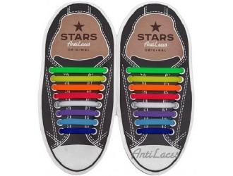 Разноцветные косые АнтиШнурки 8+8 (16 шт комплект)