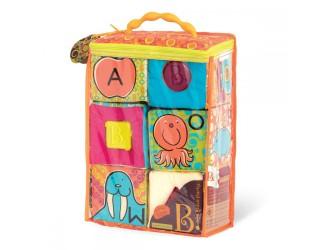 BX1477Z Cuburi educationale moi de sortare ABC (6 cuburi, intr-o geanta, culori pastelate)