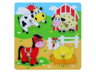 59562 Деревянные плоские головоломки сельскохозяйственных животных