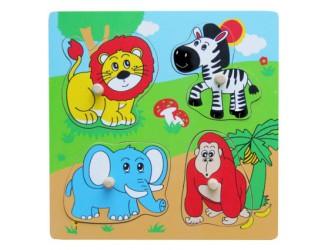 59563 Деревянные плоские головоломки Дикие животные 4 шт.