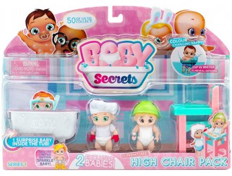 77023 Set de Joaca cu figurine bebelusi cu Masa p/u hranit Baby Secrets