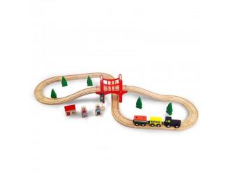 AC7504  ACoolToy Set trenulet Wooden Train 37 piese