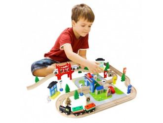 AC7506 Set trenulete 80 piese My Busy Train din lemn