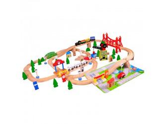 AC7507  ACoolToy Set Trenulet  Wooden Train 100 piese