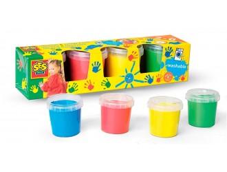 0305S Vopsea pentru pictura cu degetele-- PRIMELE MELE DESENE (4 culori, оn borcane de plastic)
