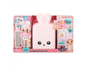 569732 Set Rucsac Iepuras roz Na!Na!Na! Surprise 3 in 1 dormitor cu accesorii