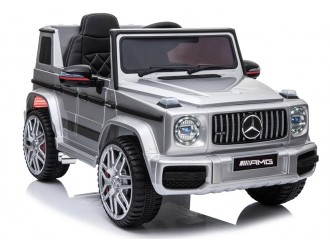3873 Masina electrica Mercedes G63 AMG culoare argintie cu 2 motoare