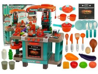 4210  Набор бирюзовая кухня с посудой и аксессуарами (звуком и светом)