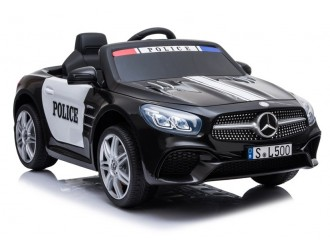 4793 Masina electrica Mercedes SL500 Politie culoare neagra cu 2 motoare