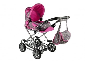 5252 Carucior pentru papusi cu gentuta si accesorii Alice culoare sur-roz cu buline