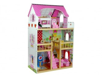 5319 Деревянный кукольный домик розового цвета со светодиодной подсветкой Melisa