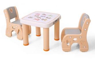 HBS18110 Masuta 61*61*51cm cu 2 scaunele 31*45*59cm orange