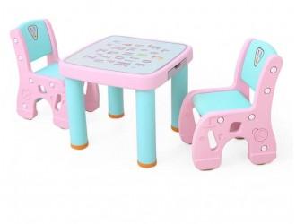 HBS18110 Masuta 61*61*51cm cu 2 scaunele 31*45*59cm pink