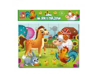 """VT1102-23 Puzzle moale А4 """"La Ferma"""" 24 piese Vladi Toys"""