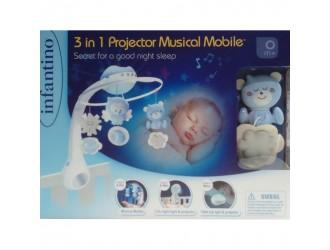 004896I Jucarie muzicala pentru patuc cu proiector 3 in 1 albastru INFANTINO