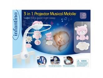 004914I Jucarie muzicala pentru patuc cu proiector 3 in 1 roz INFANTINO