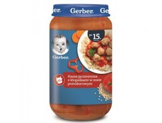 Gerber Piure Junior terci de orz perlat cu chiftele in sos de rosii (15 m+) 250 gr.