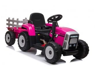 7634 Tractor cu acumulator si remorca culoarea roz XMX611