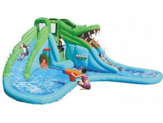 9517 Крокодил надувной матрас с водными горками