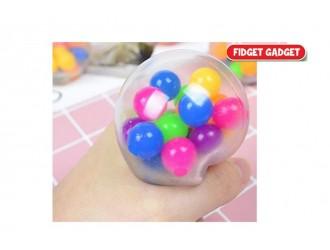620996 Jucarie minge Stretchball cu bilute colorate in interior 5cm