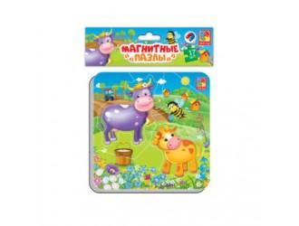 """VT3204-13 Puzzle magnetic  """"Vaca si vitelul"""" l.rusa Vladi Toys"""