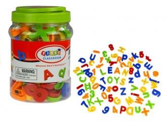 919 Набор разноцветных магнитных букв и цифр в банке 78 эл.