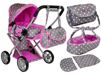 7694 Carucior papusi Alice cu geanta gri-roz cu buline