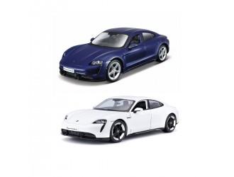 18-21098 Модель автомобиля Porsche Taycan Turbo S (1:24) белый / синий Bburago