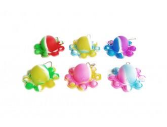 621114 Игрушка осьминог  Plop Up! двусторонний брелок 9,2см различных цветов